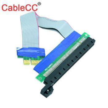 CY Cable 1Pcs/Lot 20cm PCI-E Riser 1X to 16X Extension Cable PCI Express Flexible Riser Card Adapter Converter Extend Cables 10pcs lot pci e pci express 1x male to female extension cable 90 degree riser 15cm 23cm flex ribbon cable