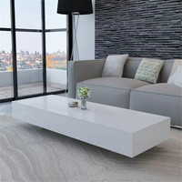 VidaXL Rectangular Coffee Table High Gloss White Side Table Coffee Tables MDF Living Room Furniture Modern Home Furniture