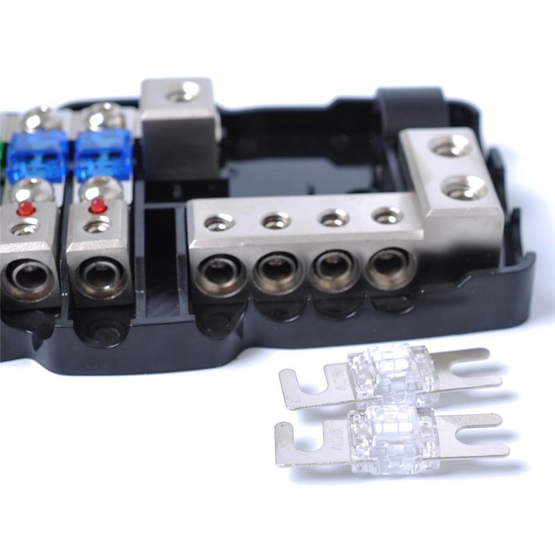 Multi-functional Fuse Block Car Audio Stereo With LED Light 4-Way Fuse 30A 60A 2 In 4 Out Battery Distribution 2 Spare Fuses 80A multi functional car interior agent