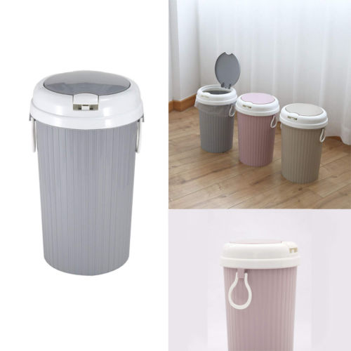 Portable Plastic Trash Can Garbage Bin Swing Home Bathroom Kitchen Waste  Basket