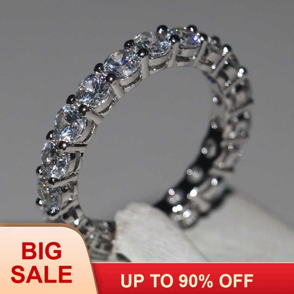 Женское Обручальное кольцо 4 мм круглый CZ 925 пробы серебро 5A Циркон Камень Вечность кольцо полосы новые ювелирные изделия для женщин