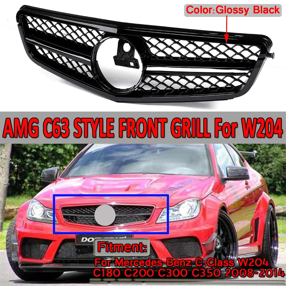 <font><b>W204</b></font> C63 <font><b>Grill</b></font> Car Front Upper Grille <font><b>Grill</b></font> For Mercedes For <font><b>Benz</b></font> C Class <font><b>W204</b></font> C180 C200 C300 C350 2008-2014 For AMG C63 Style image