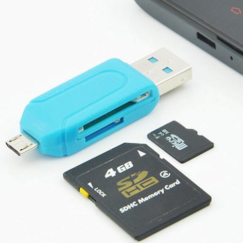 2 em 1 1pc USB 2.0 OTG Adaptador Universal Micro USB Leitor de Cartão de Memória TF Leitor de Cartão SD para PC Computador Portátil Telefone