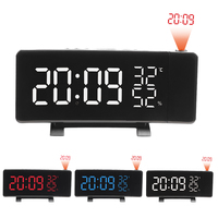 Dual USB Operated 3 Color Curved LED Screen Radio Alarm Clock Dimmable Thermometer Hygrometer Clock Dual Alarms Snooze Function