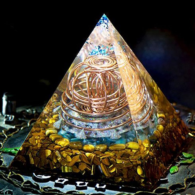 AURA REIKI Orgonite Energy Crystal Pyramid Reiki Healing Purifies Mind Renewal Magnetic Field Resin Decorative Craft Jewelry