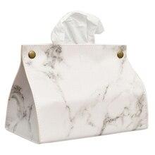 Коробка для салфеток с мраморным узором из искусственной кожи, бумажный контейнер для салфеток, бумажное полотенце, чехол для салфеток, домашний декор