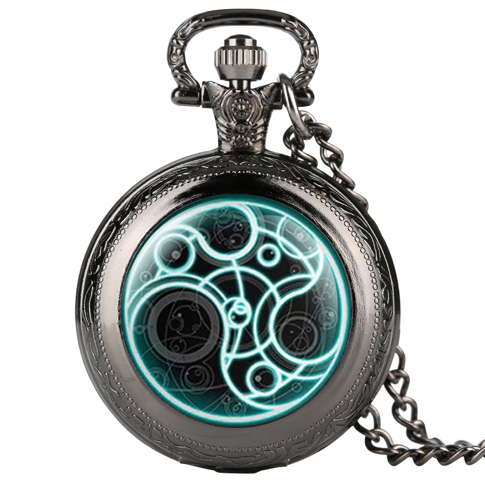 Retro Pocket Watch For Men Woman Doctor Who Pattern Pocket Watch For Teenager Bronze Case Pocket Watch Gift For Kid