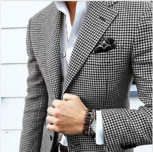 Handsome Groomsmen Houndstooth Groom Tuxedos Shawl Satin Lapel Men Suits Wedding/Prom Best Man Blazer ( Jacket+Pants+Tie)