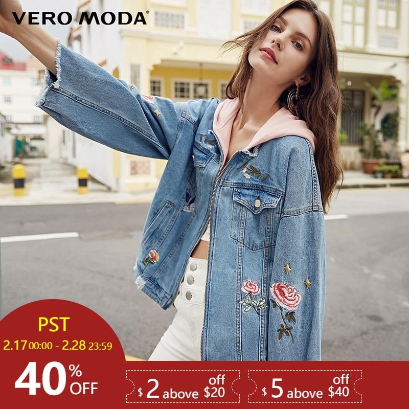 Vero Moda 2019 весна вышивка Rip Raw-edge пальто с капюшоном | 318157509