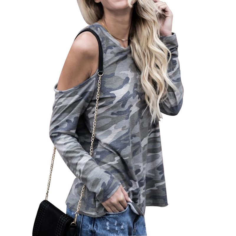 New Arrival High Quality Personalized All-matched Long Sleeves Off- Shoulder O-Neck Camouflage Long-sleeved Women's T-shirt Top