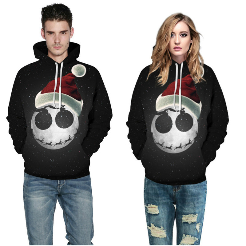 Fashion Men Women's Autumn Winter Starry Christmas Hat Hooded Sweater Couple Hoodies Pullover Long Sleeve 3D Print With Hat Coat