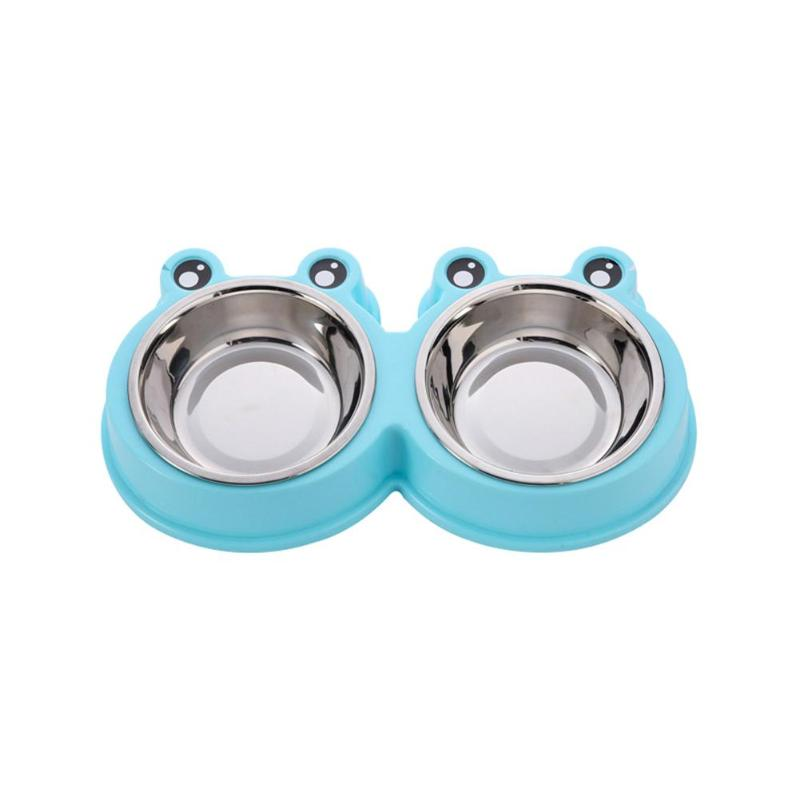 Cartoon Frog Pets Double Bowls Puppy Dogs Cats Water Food Feeder Dishes Кормушка