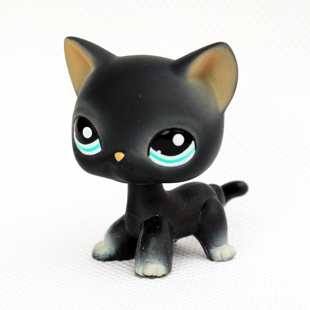 ON SALE original pet shop toys standing #994 black short hair cat real rare animal toys kitty for kids collestion image