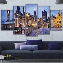 Canvas Picture Modular Wall Art HD Print Poster 5 Pieces Bruges Bridge Walkway Church Paintings Home Decor Living Room Framework