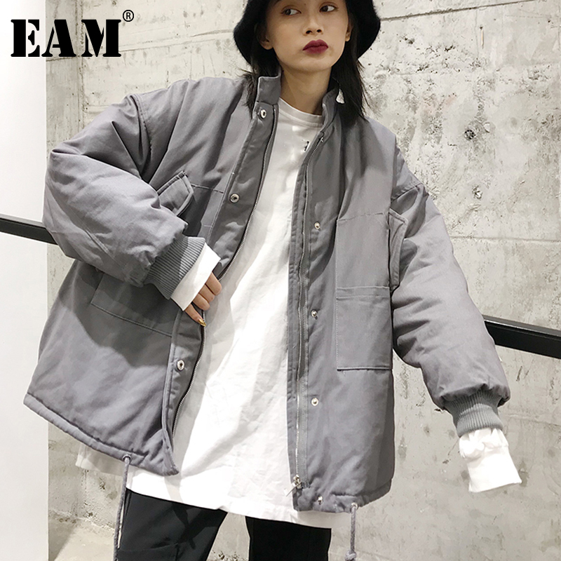 EAM 2019 Spring Woman New Gray Black Color Long Sleeve Zipper Stand Collar Loose Cotton