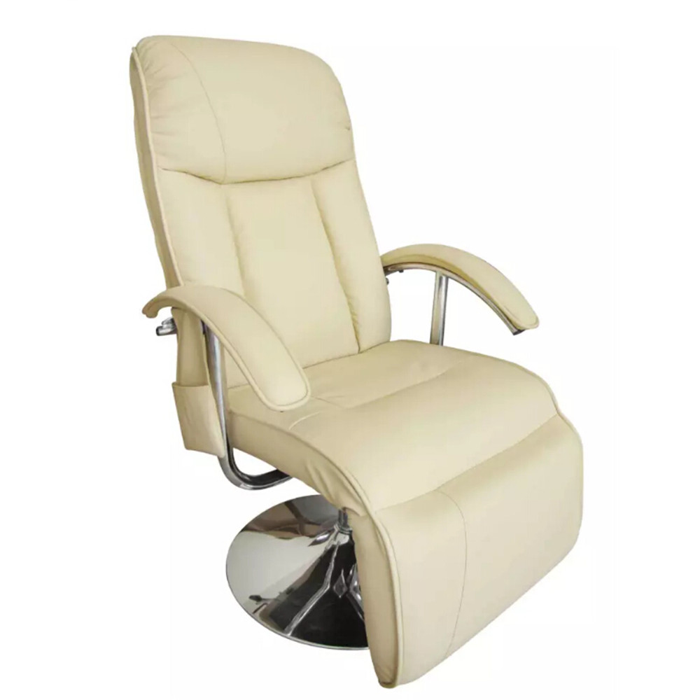 VidaXL Remote Control White Massage Chair 10 Massage Knot Adjustable Back And Footrest Entire Seat White Imitation Leather Chair