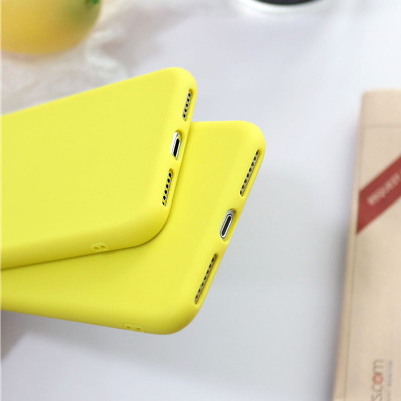 SUYACS Cute Cartoon Lemon Yellow Phone Case For iphone X XS Max XR 6 6S 7 8 Plus Candy Color Soft TPU Phone Back Cover Gift