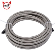 evil energy AN3 AN4 AN6 AN8 AN10 5M Fuel Line PTFE Stainless Steel Braided Brake Hose Racing Oil Cooler Silver