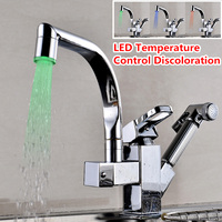 Home LED Pull Out Swive l Spout Tap Nickel Home Kitchen Basin Sink Faucet Mixer Spray Kitchen Faucets
