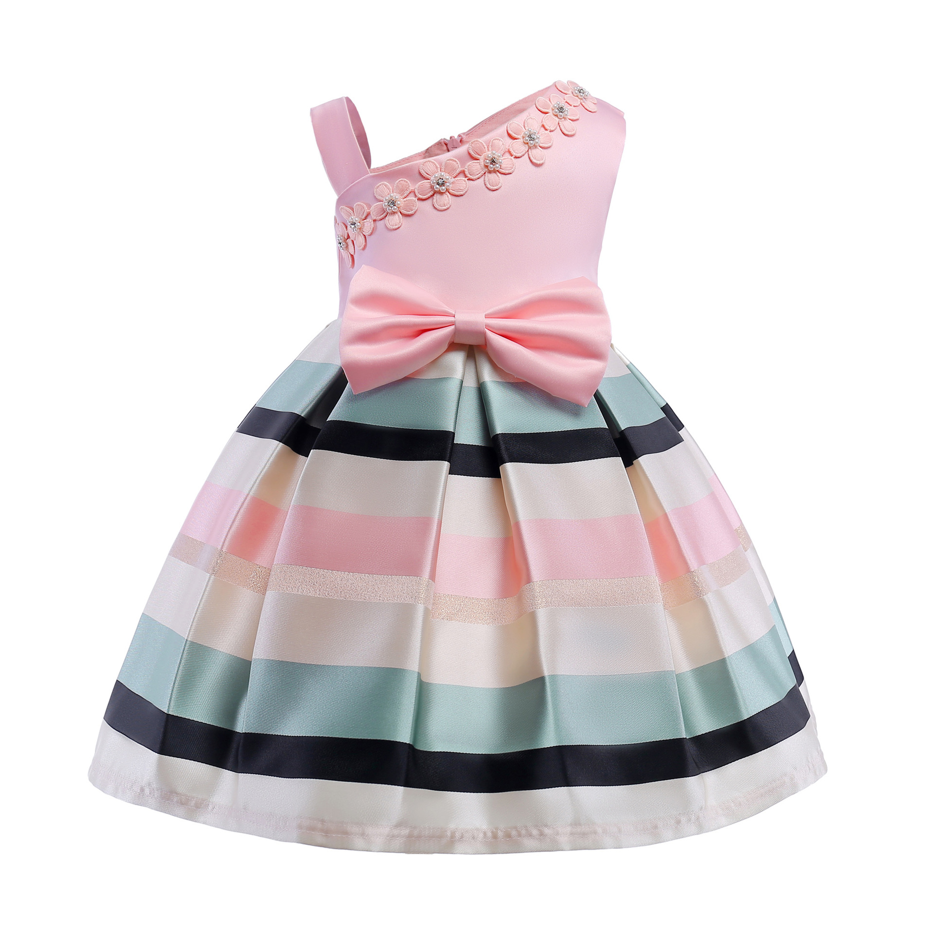 2018 Spring New Style Girls Pearl Flowers   Cocktail     Dress   Shoulder Strap Stripes   Dress   Children's Clothing Formal Wedding Party