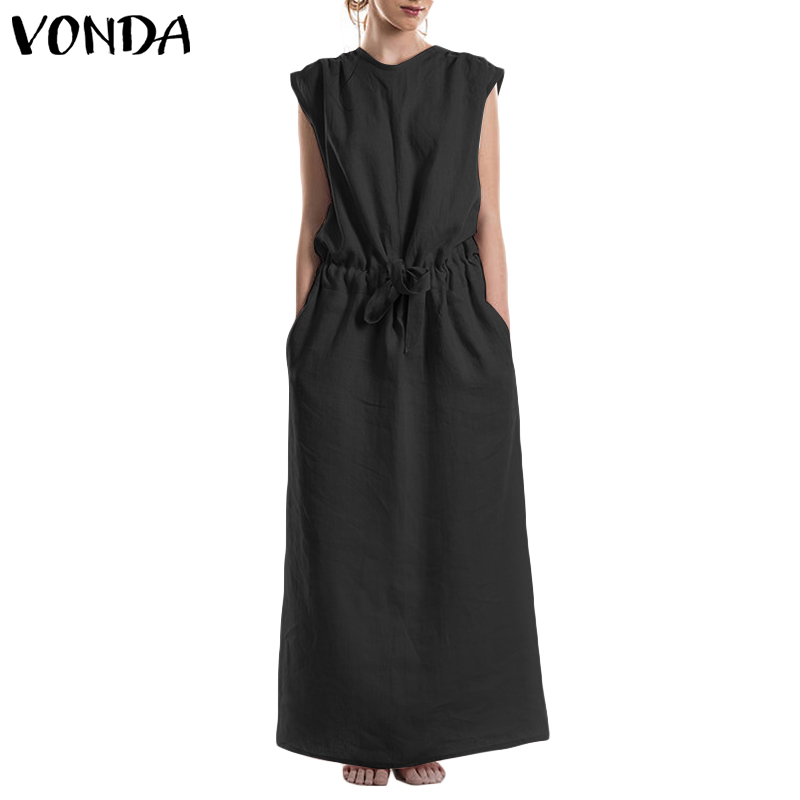 2019 VONDA Women Dress Summer Casual Loose Plus Size Long Maxi Cotton Dresses Female Sexy O Neck Backless Party Vestidos