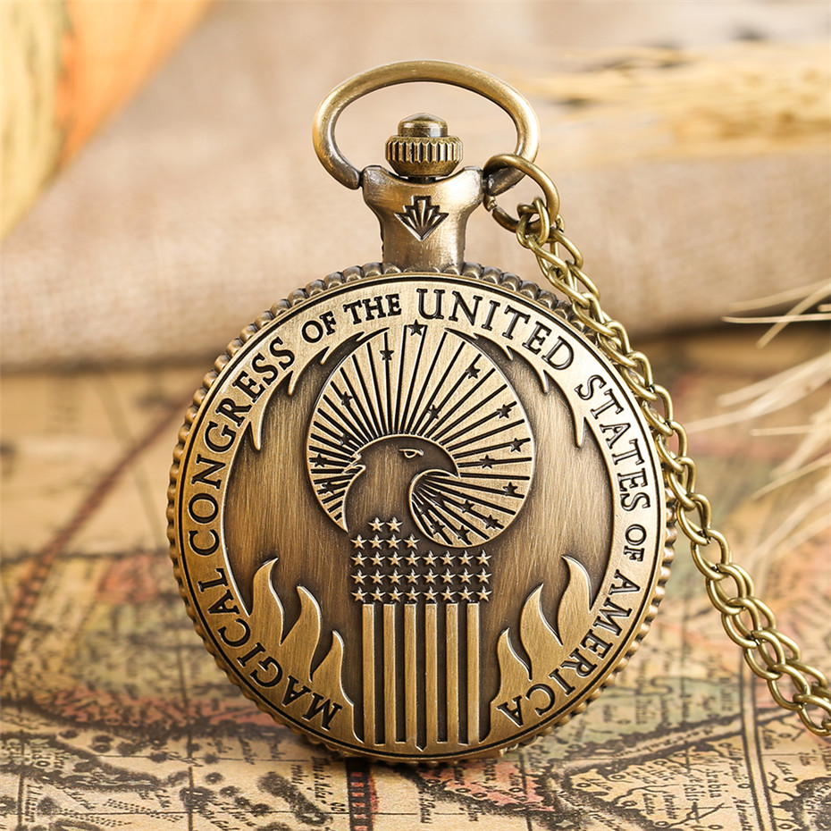 Bronze Magical Congress Of U.S.A Theme Quartz Pocket Watch Retro Necklace Pendant Clock Gifts For Men Women With 80 Cm Chain