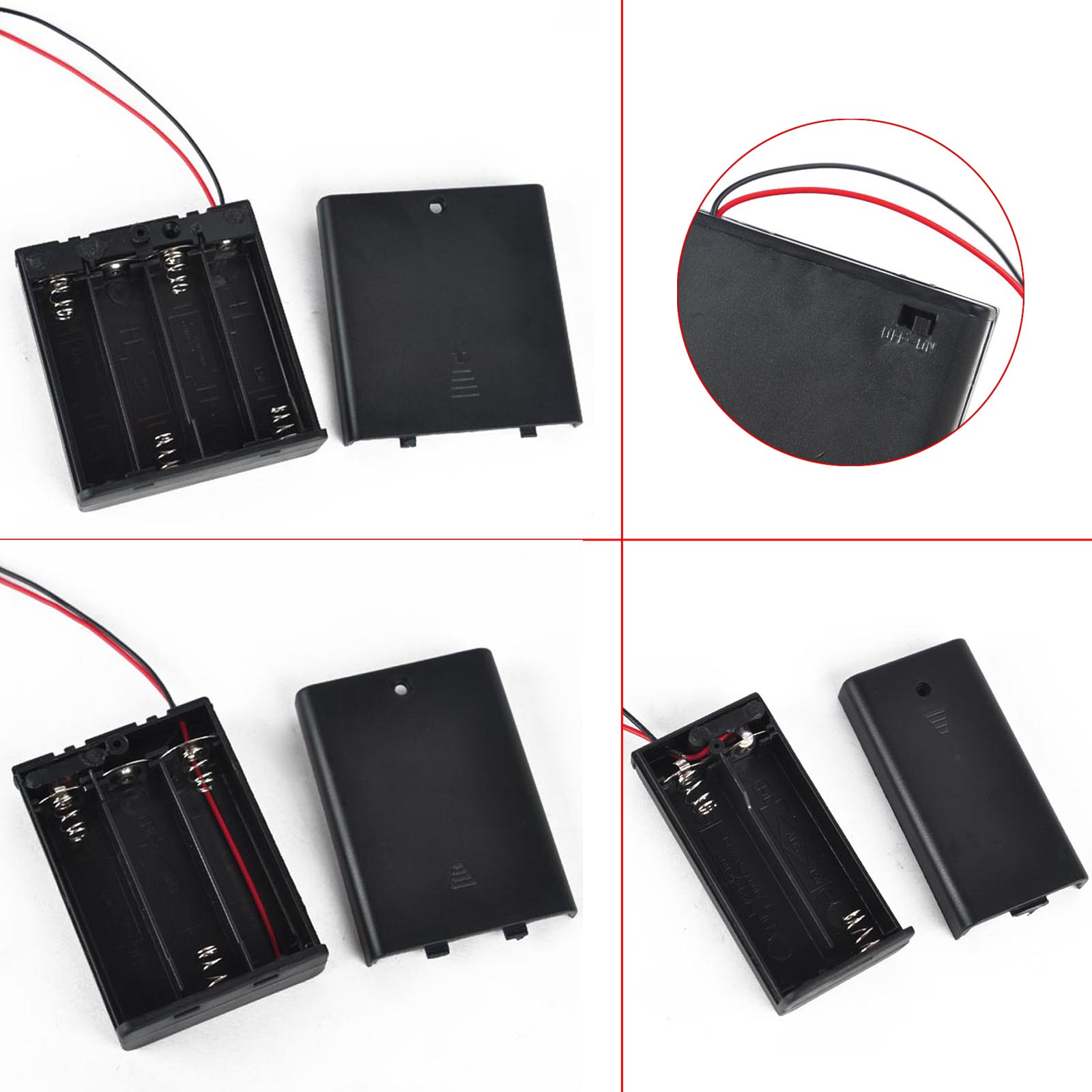 Power-Switch Box-Holder Wire-Battery Storage-Case with 4/3/2-slots Leads Aa-Size On/Off