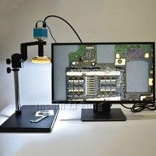 16MP HDMI USB HD Microscoop Camera + Hoge Werkafstand Groot Gezichtsveld 5X 100X C mount Lens + grote Beugel + LED Lichtbron