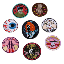 Round Badges Iron On Patches Stranger Things Thermo Stickers Parches Applique Embroidery Style For Clothes