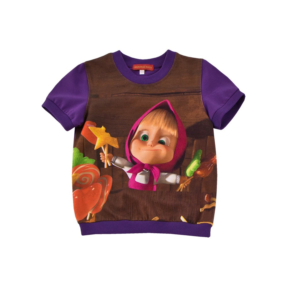 Masha and the Bear Shirt T-shirt purple M v neck flower and bird print plus size short sleeve men s t shirt
