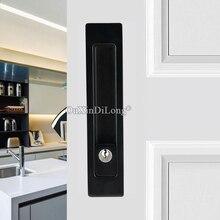 цена на Top Designed 2PCS European Recessed Hidden Sliding Door Locks Brass Mortise Hook Lock Set 4 Colors with Key / No Key