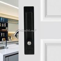 Top Designed 2PCS European Recessed Hidden Sliding Door Locks Brass Mortise Hook Lock Set 4 Colors with Key / No Key
