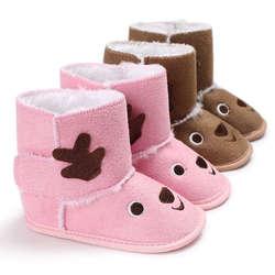 Милые зимние детские пинетки мультфильм дизайн теплые кроватки снег малыш бантом шерстяные Ям Мех животных хлопок обувь для малышей