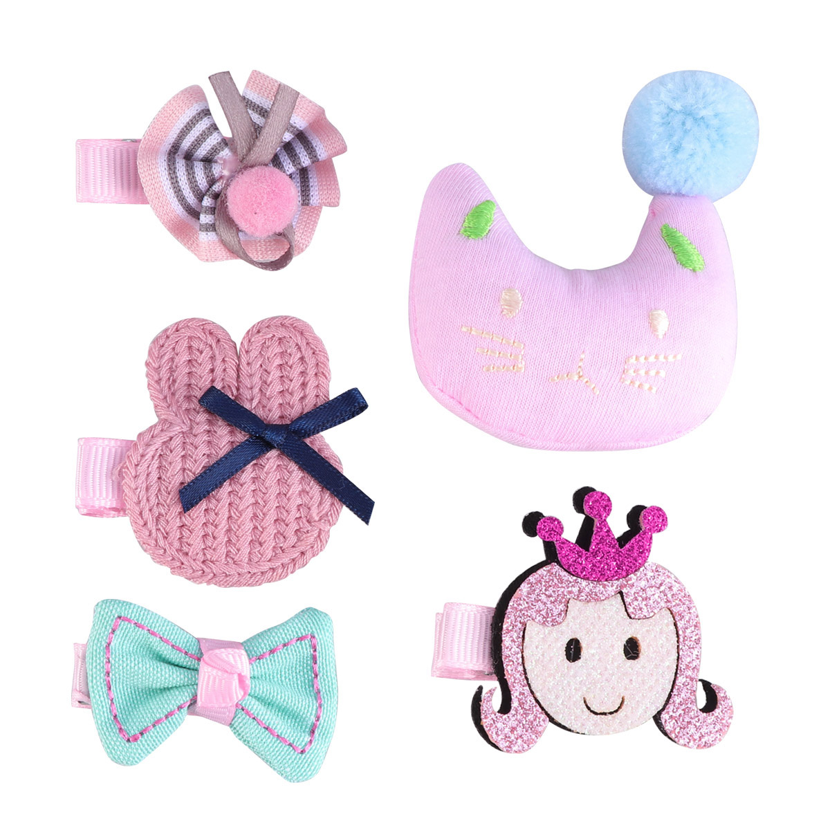 5pcs Hair Pins Cartoon Cloth Art Cute Colorful Hairpins Side Clips Hairclips Headdress Headwear for Children Girls Kids
