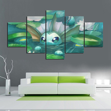 5 Piece Digital Art Cartoon Pictuers Eevee Pocket Monster Pokemon Anime Poster Artwork Canvas Paintings Wall for Home Decor