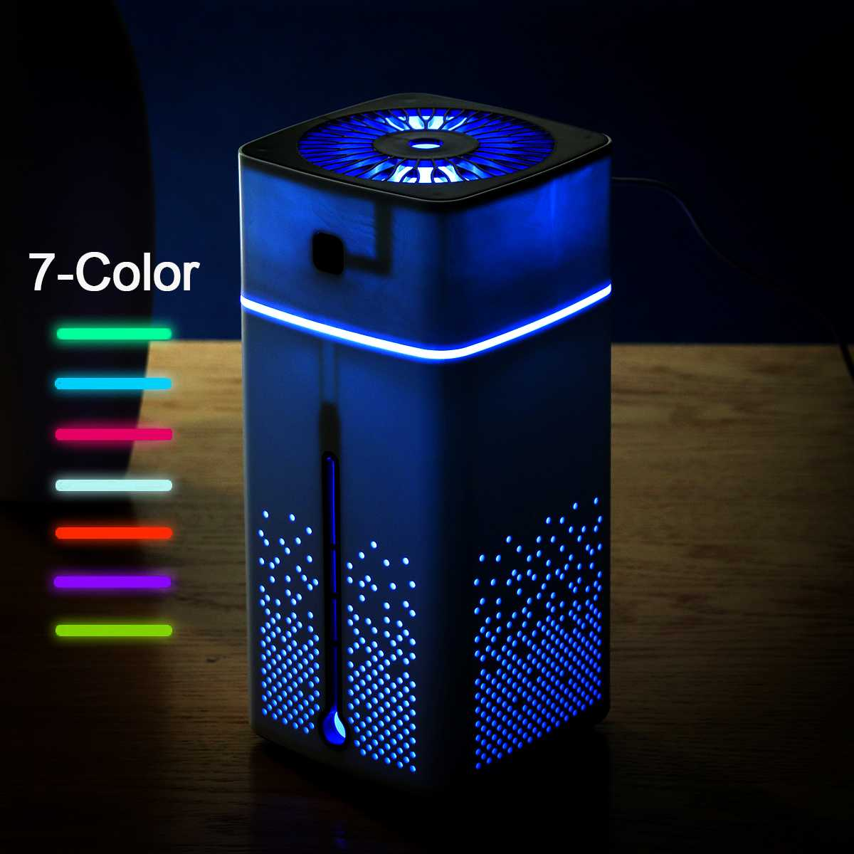 LED Night Light Mist Purifier 1000ML Air Humidifier Ultrasonic USB Diffuser Aroma Essential Oil Humidificador Black White