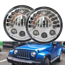 цена на 70W 7in LED headlamp round 12V headlight amber signal turn running light for 4x4 offroad Wrangler TJ Hummer Lada Niva 4x4 urban