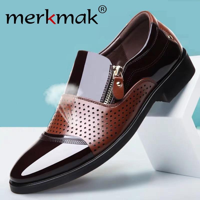 Merkmak Breathable Men Business Dress Shoes Formal Hollow Out  Suits Shoes Slip On Men Oxfords Leather Men Footwear Big Size 48