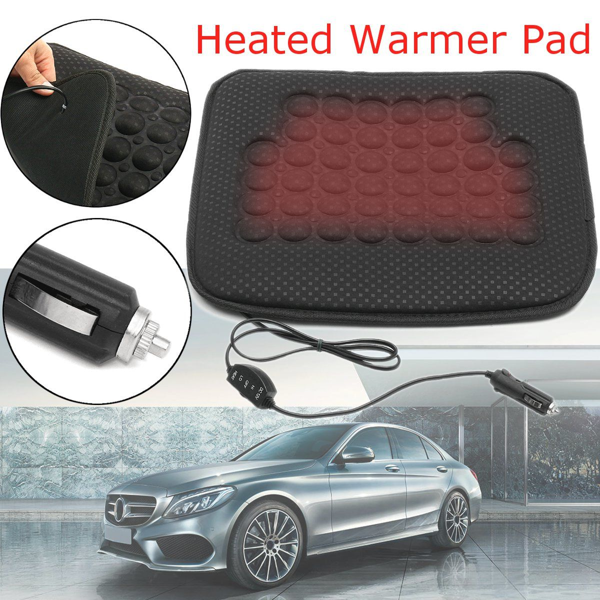 Icarekit Car Seat Warmer Seat Cushion for Cold Days Auto Heated Seat Cushion Cover Auto 12V Heating Heater Warmer Pad Winter