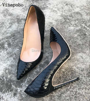 2019 New Fashion free shipping black python snake Print leather Poined Toes Stiletto high heels shoes pump wedding dress shoes - DISCOUNT ITEM  40% OFF All Category