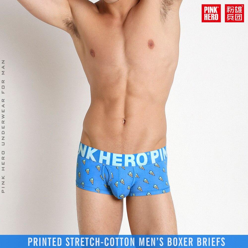PINKHERO Men Underwear Boxers Sexy Ice Cream Printed Cotton Men Boxer Underwear Brand Underpants Boxer Shorts Panties