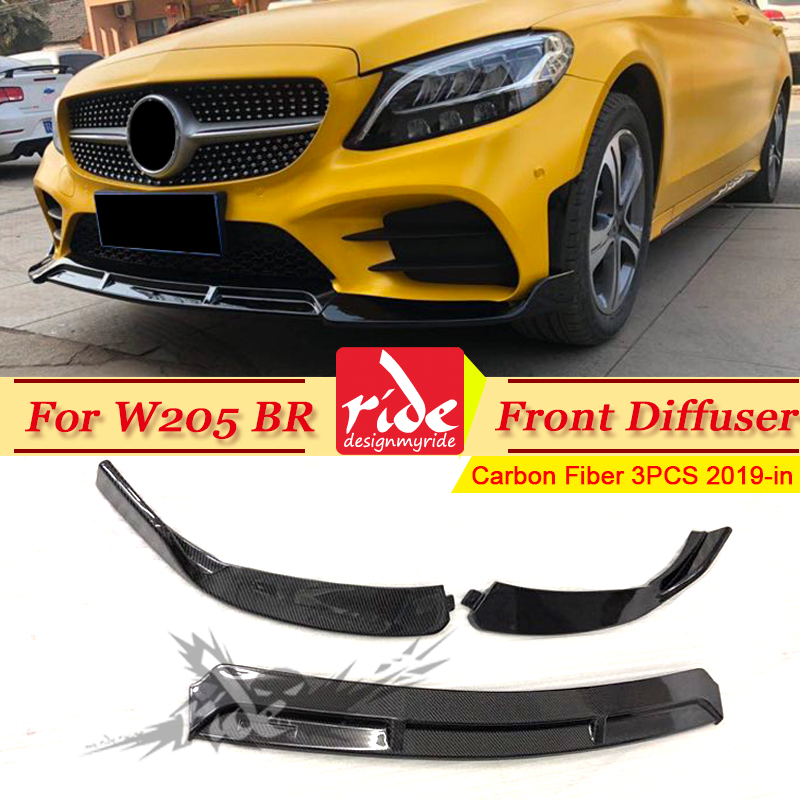 For Benz W205 Front Lip Diffusor 3-pcs Carbon Brabus-style Bumper bar Splitter C180 C200 250 C63AMG 19-in