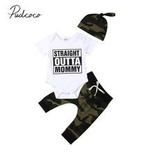 2019 Brand New Newborn Infant Baby Boy Camo Clothes Shortsleeve Cotton Bodysuit Tops Camo Pant Hat 3pcs Children Summer Clothing