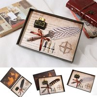 1Set English Calligraphy Feather Dip Pen Writing Ink Set Stationery Gift Box with 3 Nib Ink Wedding Gift Quill Pen Fountain Pen