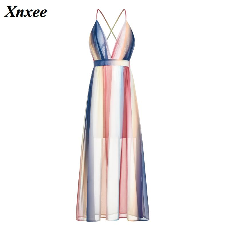 Sexy Backless Summer Maxi Dress for women V neck Spaghetti Strap Boho fuel lines Female casual Vacation Beach Dresses in Dresses from Women 39 s Clothing