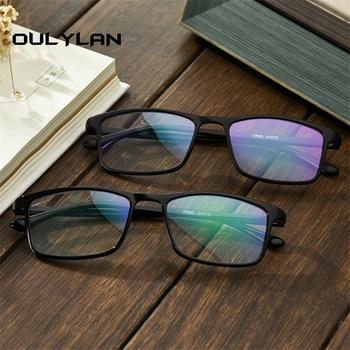 cfb709a74b Oulylan Tr90 miopía gafas mujeres hombres corto de miras gafas cuadrado  negro gafas marco Retro gafas con grado-1,0 4,0