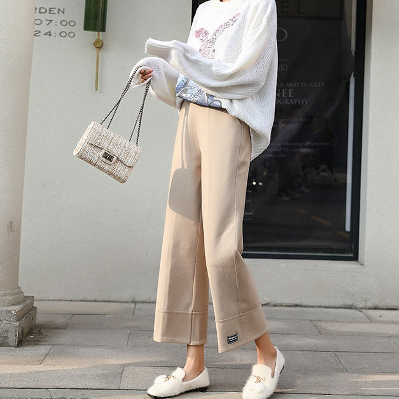 Mooirue Autumn Spring   Wide     Leg     Pant   Female Streetwear High Waist Korean Woolen Trouser Loose Beige Black Female Plus Size Bottom