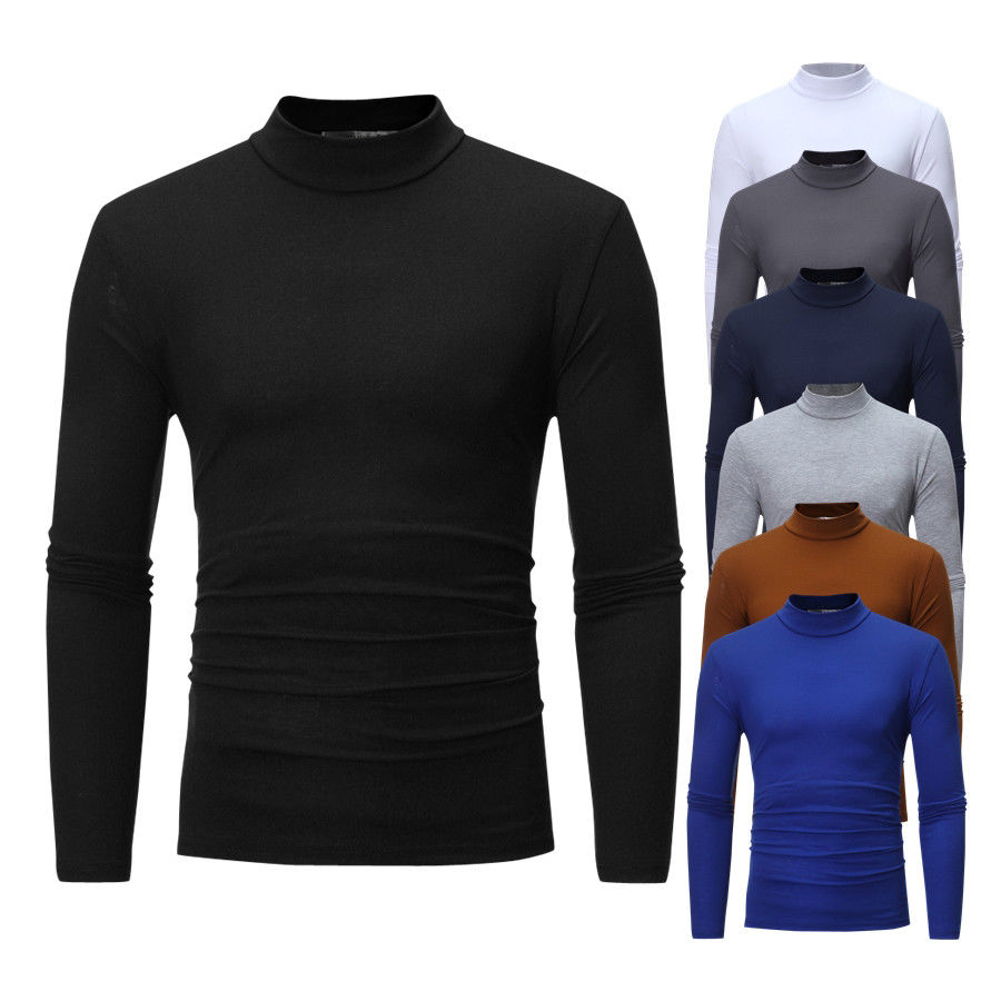 Casual Men Roll Turtle Neck Long Sleeve Solid Cotton Top Basic T-Shirts