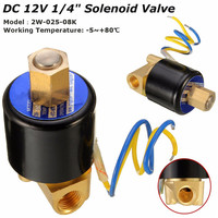 1/4 2 Way Electric Solenoid Valve DC 12V Air Gas Fuel Brass Normally Open Type Durable Stable Copper Wire Coil Valve