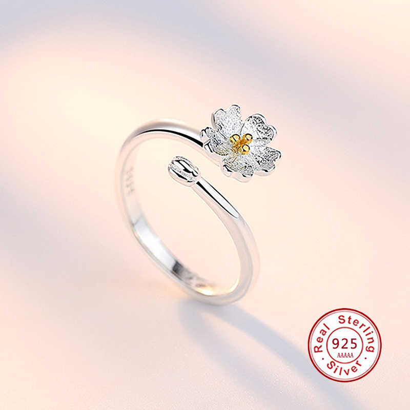 Silver Color Lotus Opening Ring for Women S925 Fashion Simple Flower Ring Creative Spiral Jewelry Fashion Party Jewelry JN0322